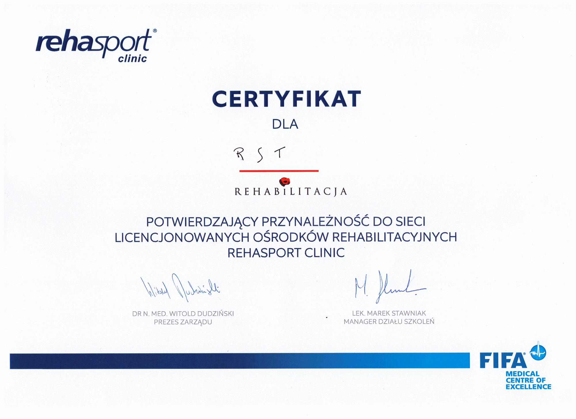 Certyfikat Rehasport Clinic